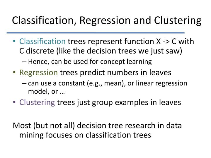Classification, Regression and Clustering
