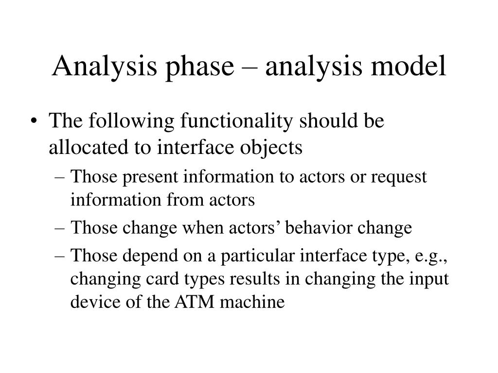 Analysis phase – analysis model