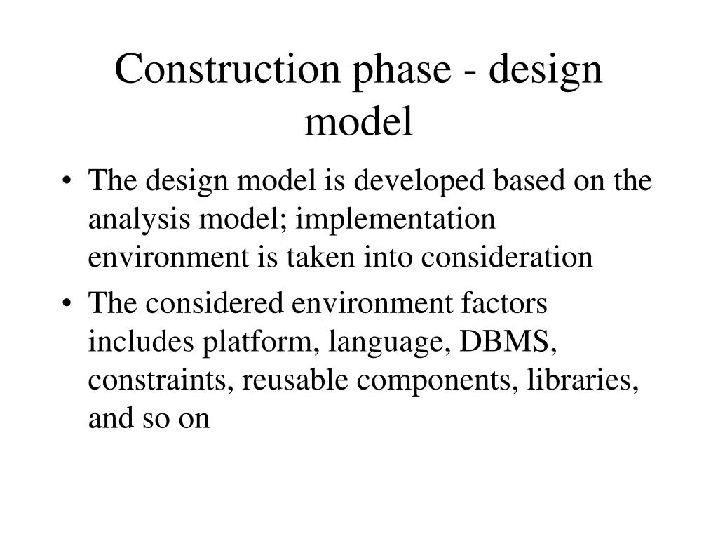 Construction phase - design model
