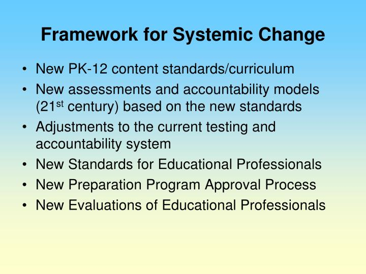 Framework for Systemic Change