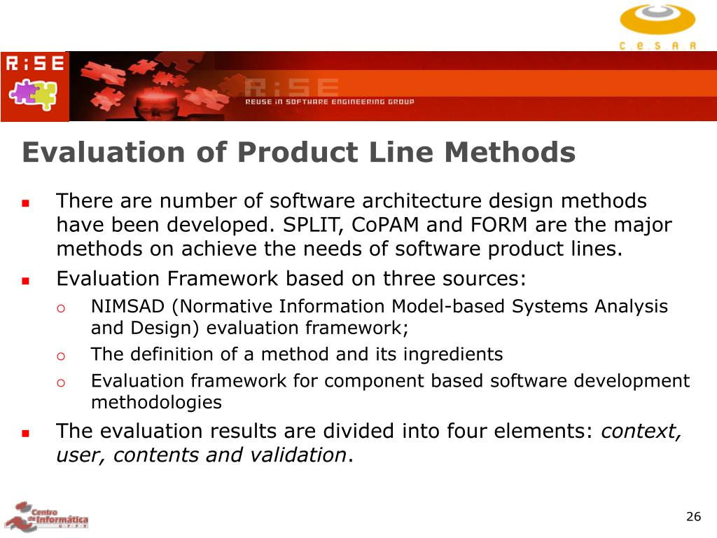 Evaluation of Product Line Methods