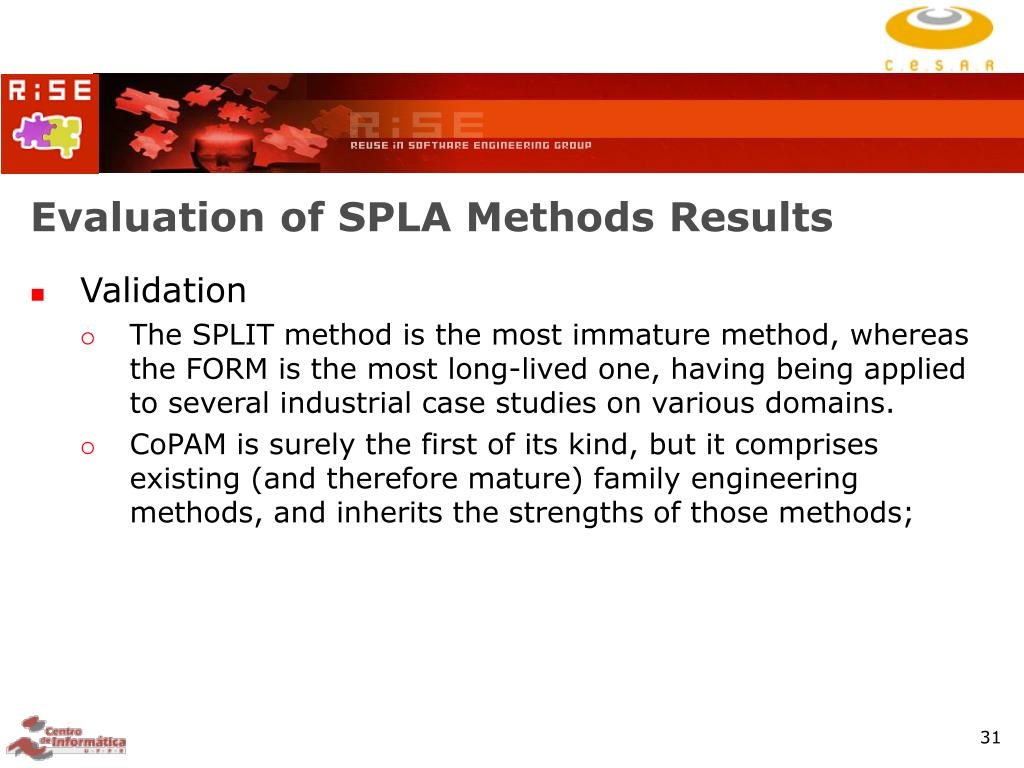 Evaluation of SPLA Methods Results