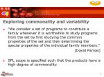 exploring commonality and variability
