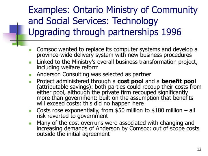 Examples: Ontario Ministry of Community and Social Services: Technology Upgrading through partnerships 1996