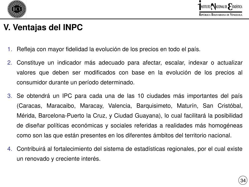 V. Ventajas del INPC