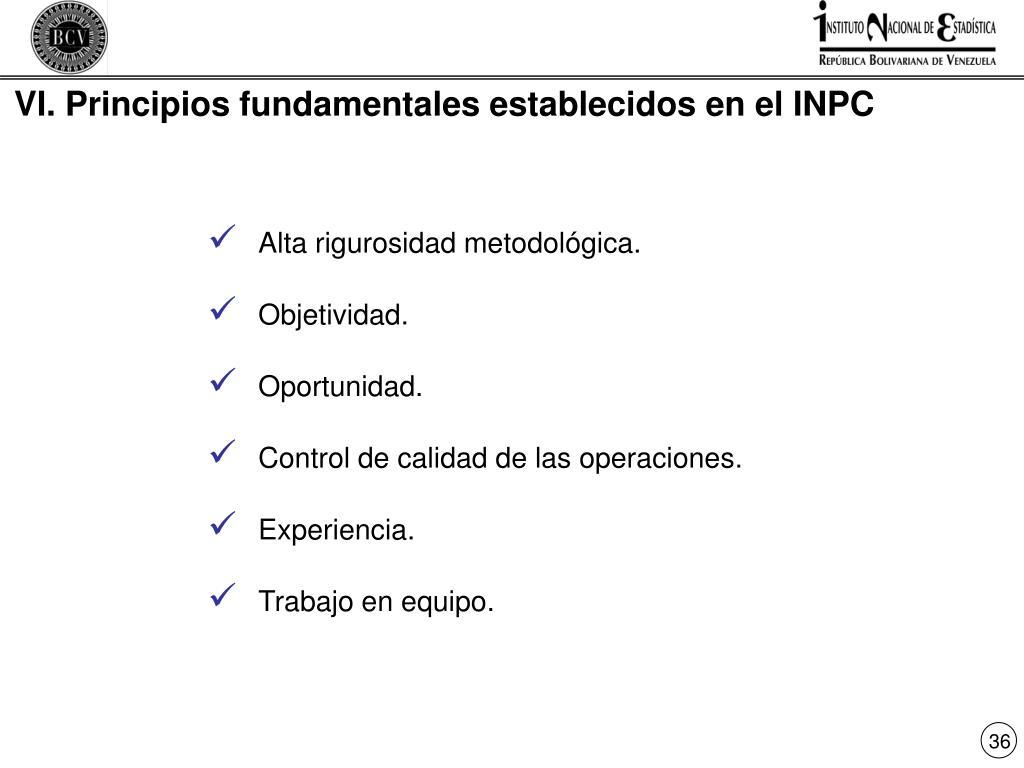 VI. Principios fundamentales establecidos en el INPC