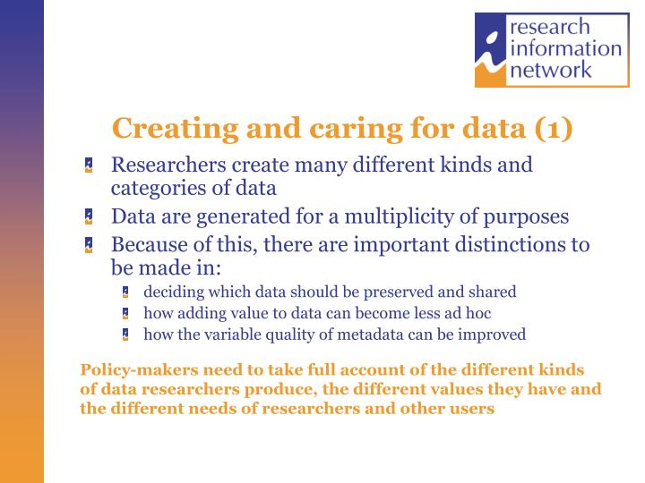 Creating and caring for data (1)