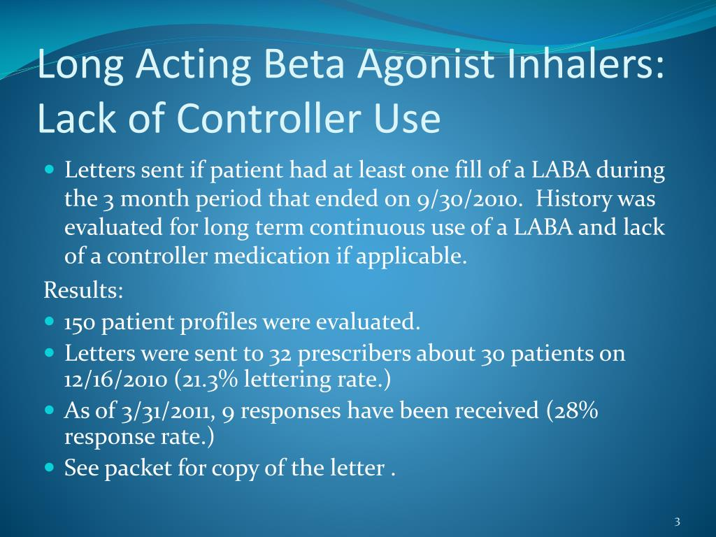 Long Acting Beta Agonist Inhalers:  Lack of Controller Use