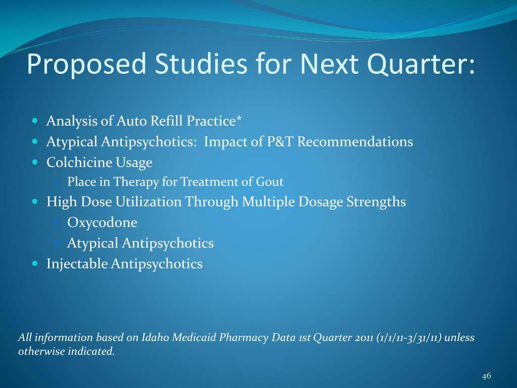 Proposed Studies for Next Quarter: