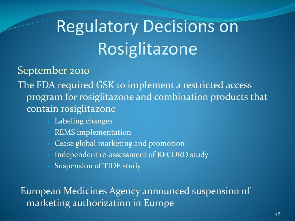 Regulatory Decisions on Rosiglitazone