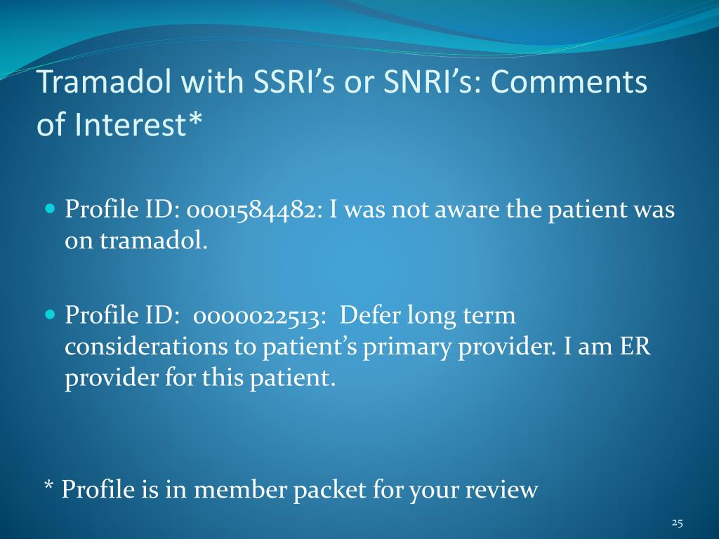 Tramadol with SSRI's or SNRI's: Comments of Interest*