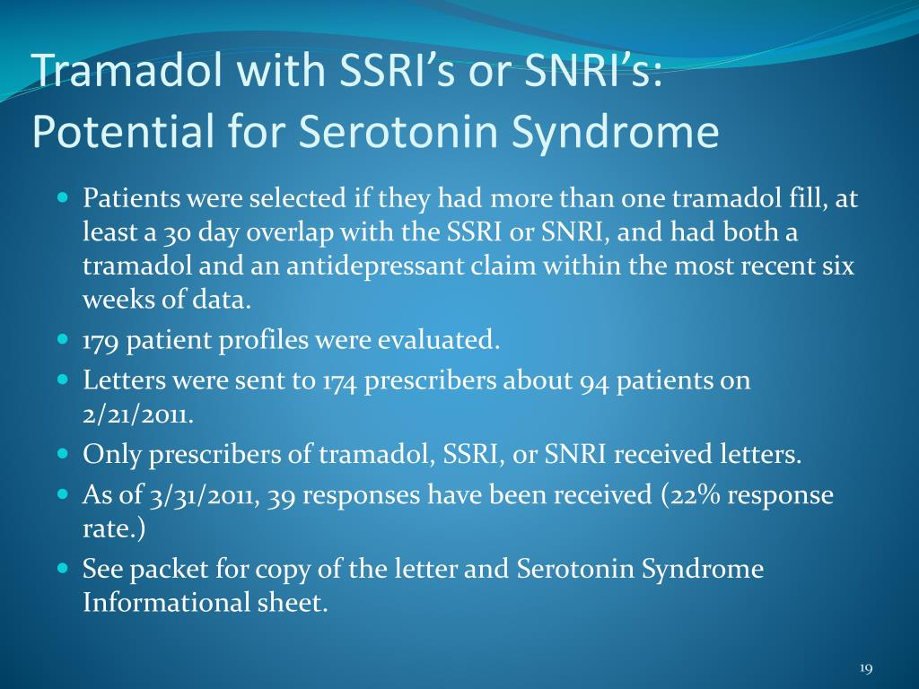 Tramadol with SSRI's or SNRI's:  Potential for Serotonin Syndrome