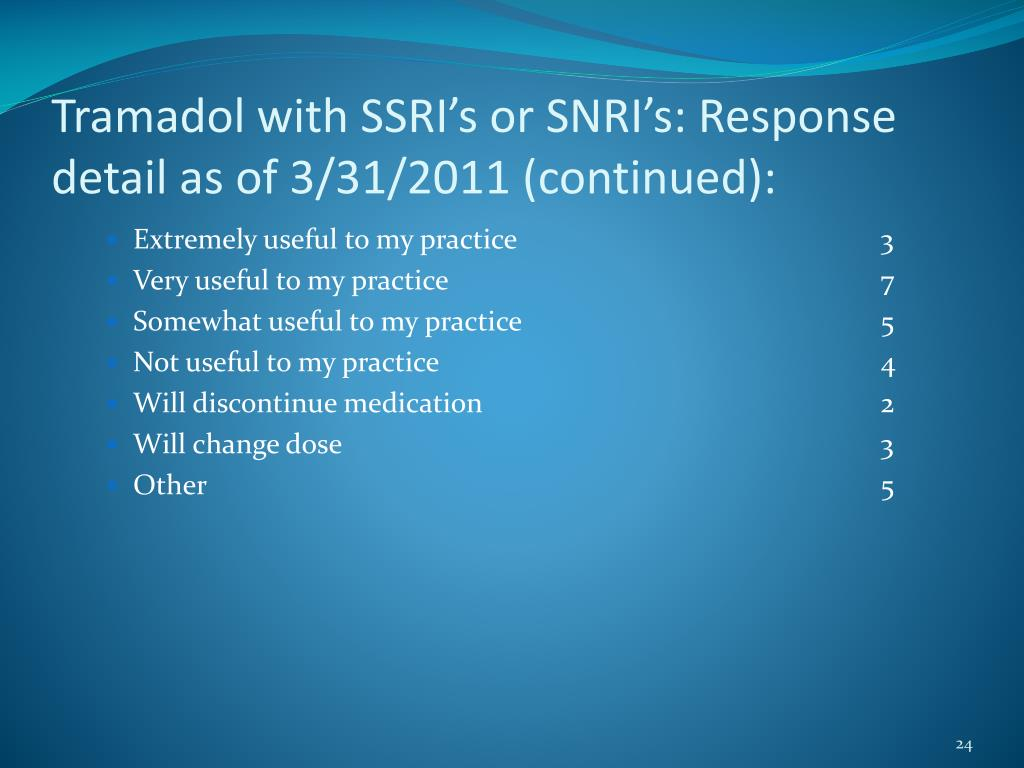 Tramadol with SSRI's or SNRI's: Response detail as of 3/31/2011 (continued):