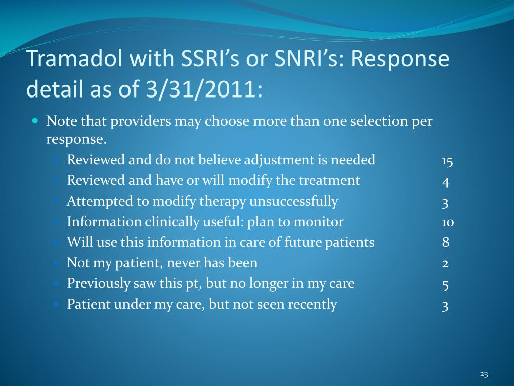 Tramadol with SSRI's or SNRI's: Response detail as of 3/31/2011: