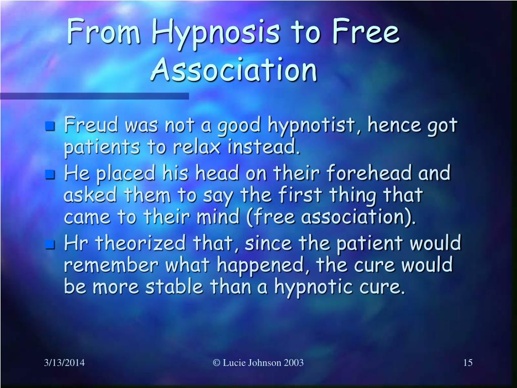 From Hypnosis to Free Association