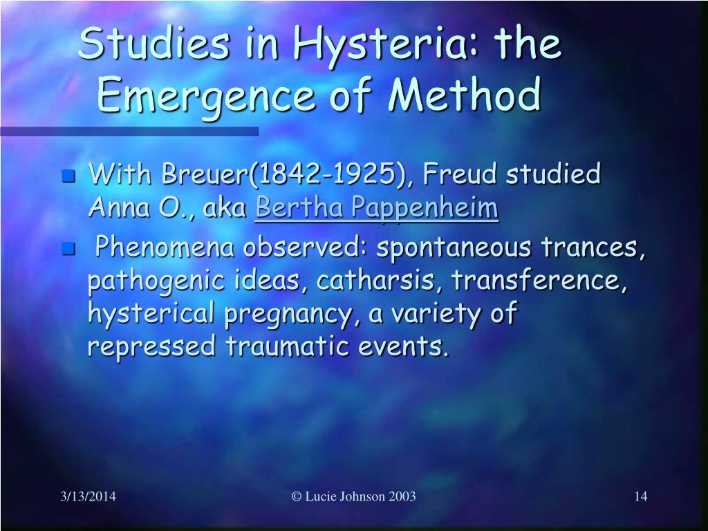 Studies in Hysteria: the Emergence of Method