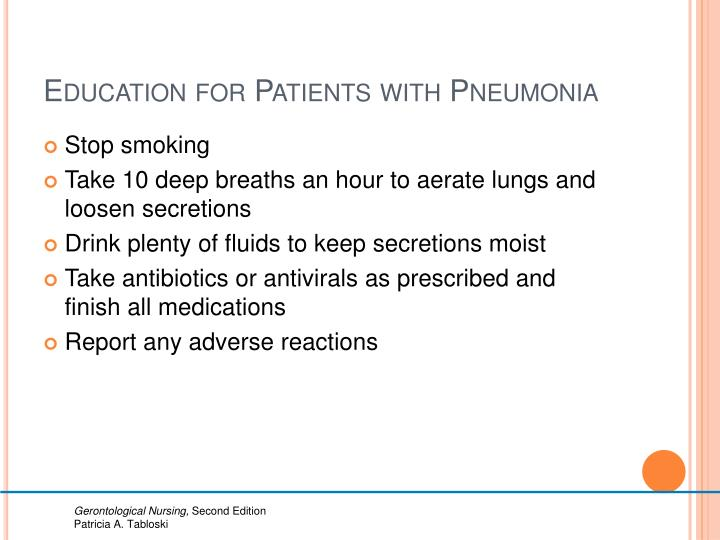 Education for Patients with Pneumonia