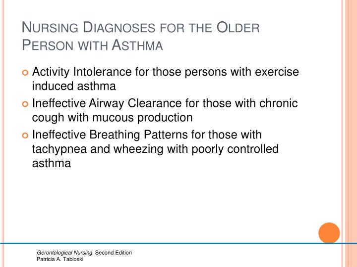 Nursing Diagnoses for the Older Person with Asthma