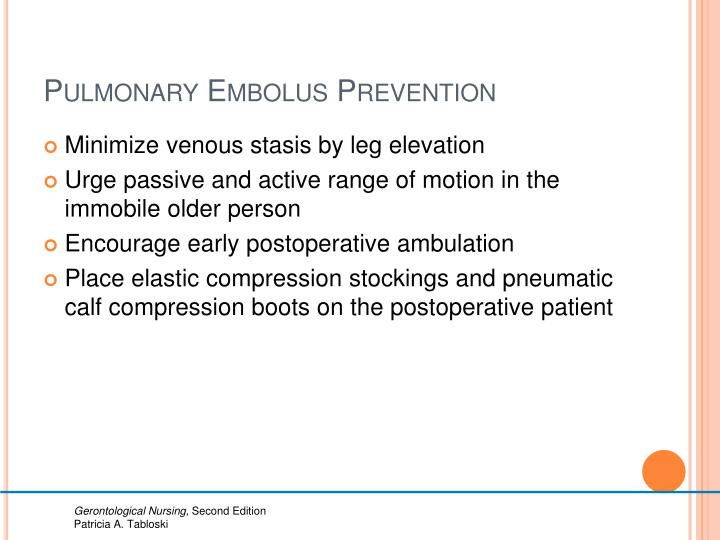 Pulmonary Embolus Prevention