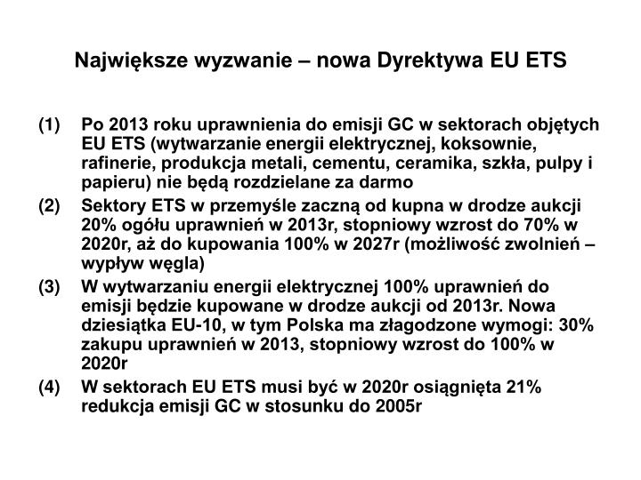 Największe wyzwanie – nowa Dyrektywa EU ETS