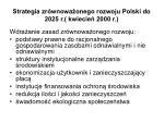 strategia zr wnowa onego rozwoju polski do 2025 r kwiecie 2000 r