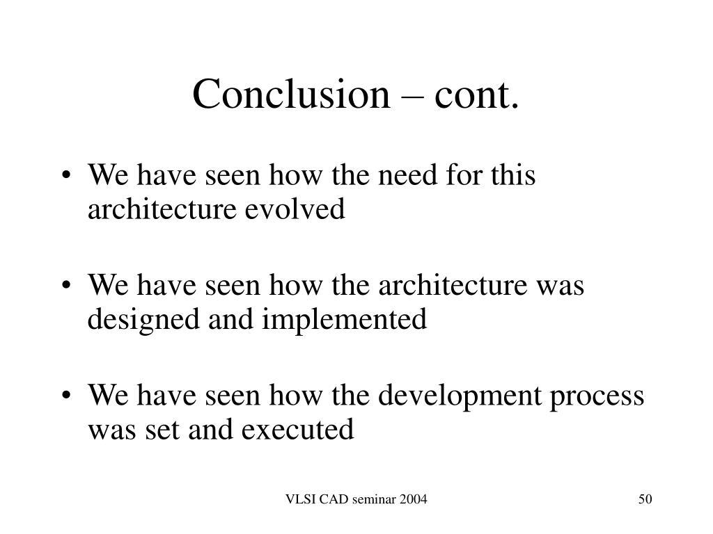 Conclusion – cont.