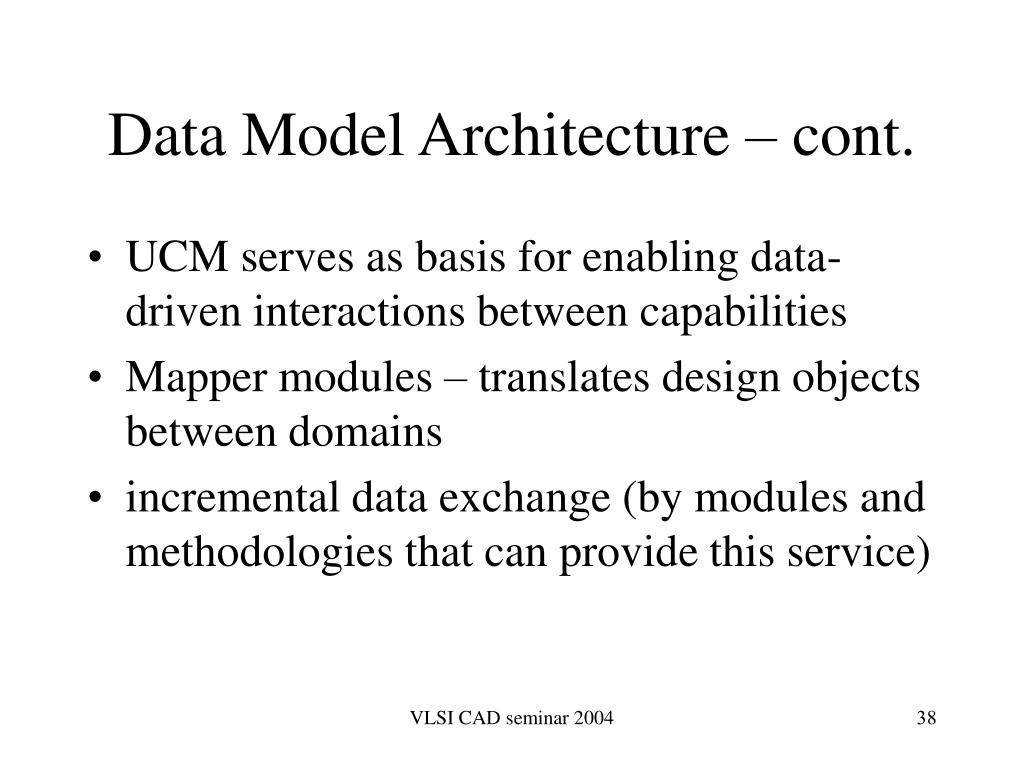Data Model Architecture – cont.