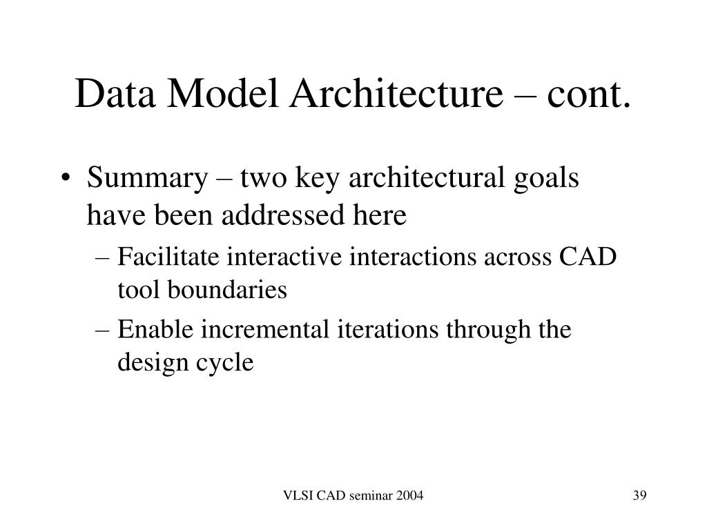 Data Model Architecture – cont.