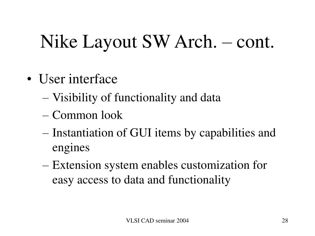 Nike Layout SW Arch. – cont.
