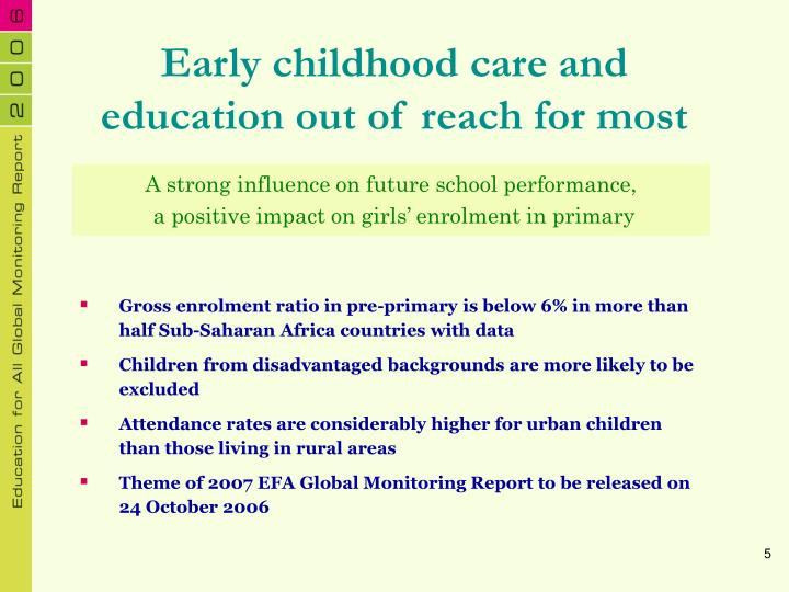 Early childhood care and education out of reach for most