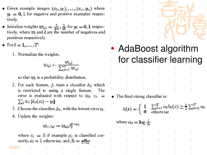 AdaBoost algorithm for classifier learning