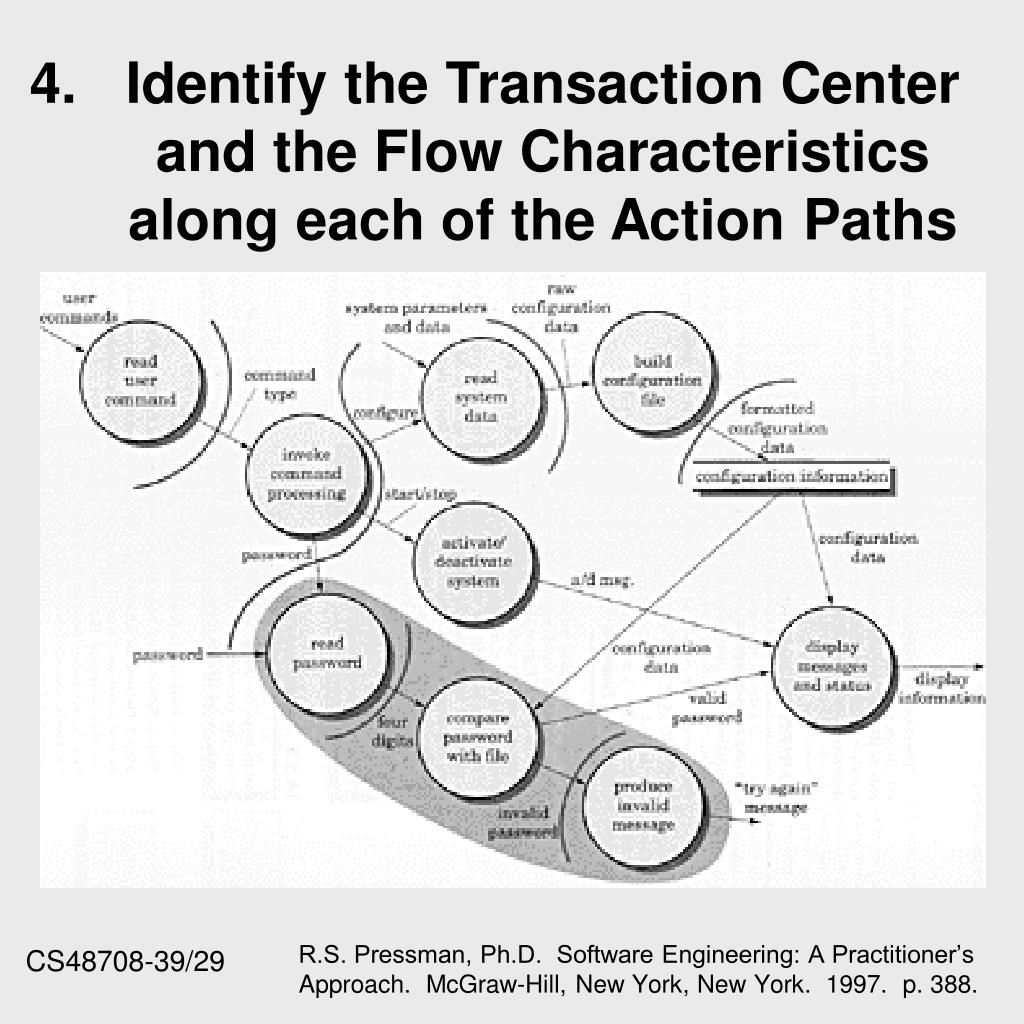 4.Identify the Transaction Center and the Flow Characteristics along each of the Action Paths