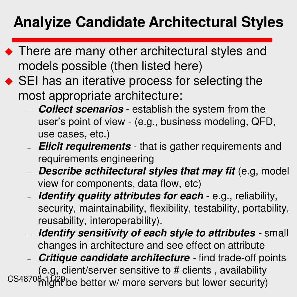 Analyize Candidate Architectural Styles