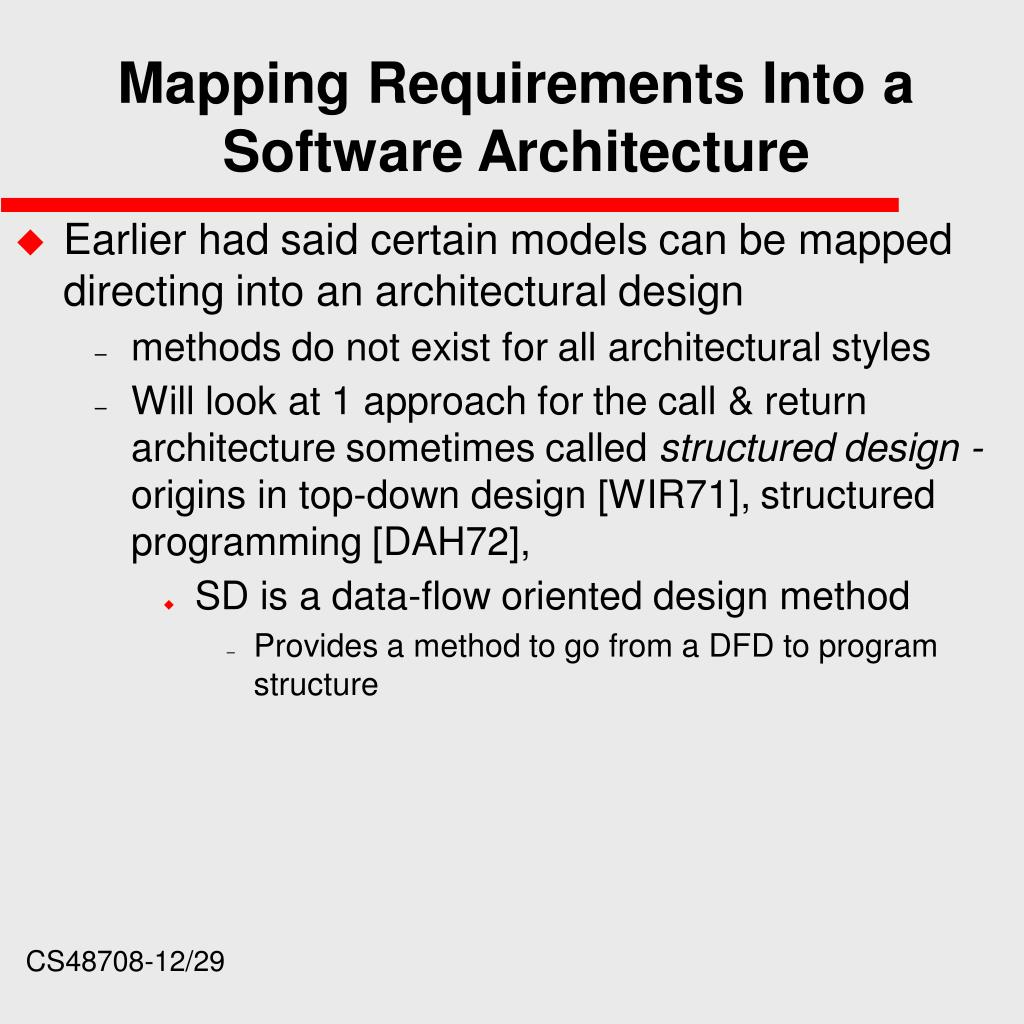Mapping Requirements Into a Software Architecture