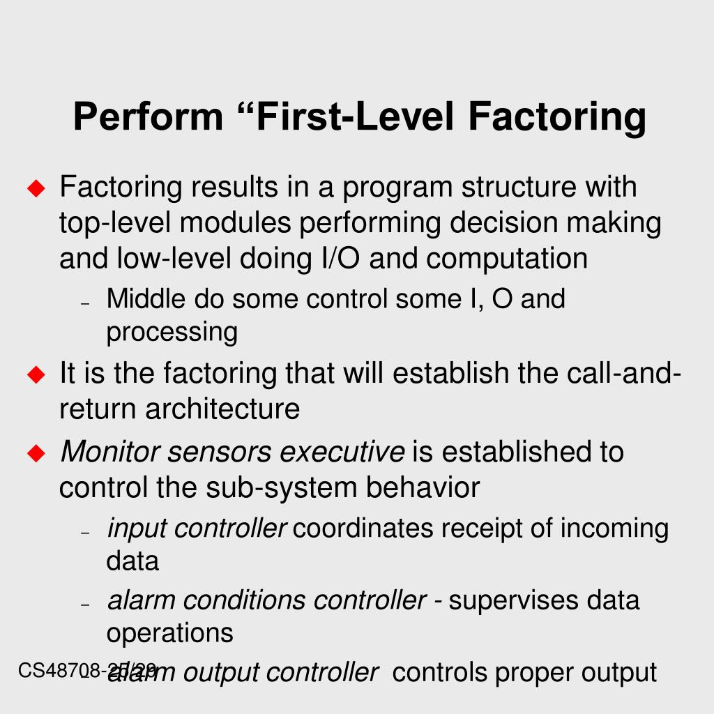 "Perform ""First-Level Factoring"