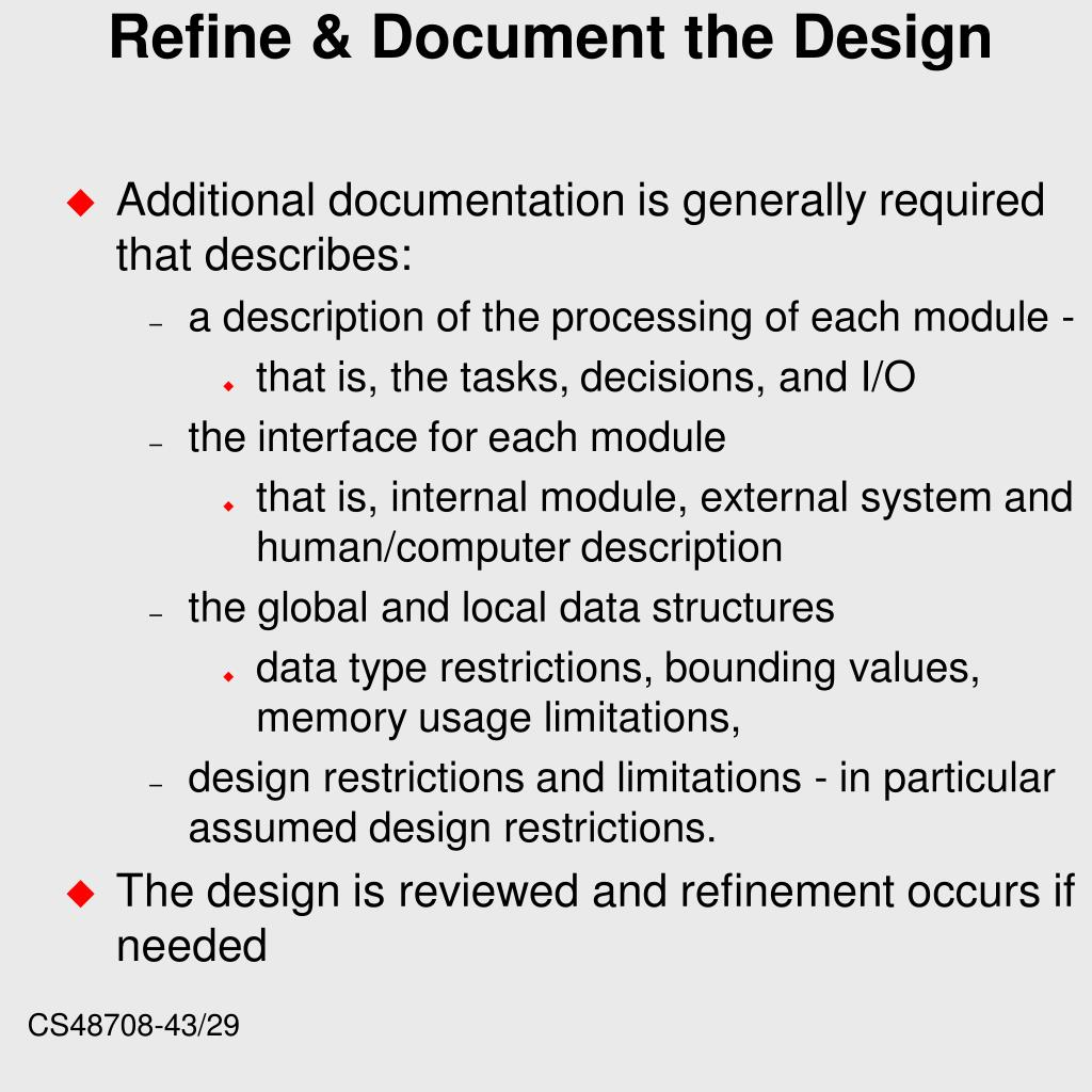 Refine & Document the Design