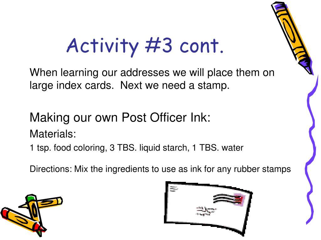 Activity #3 cont.