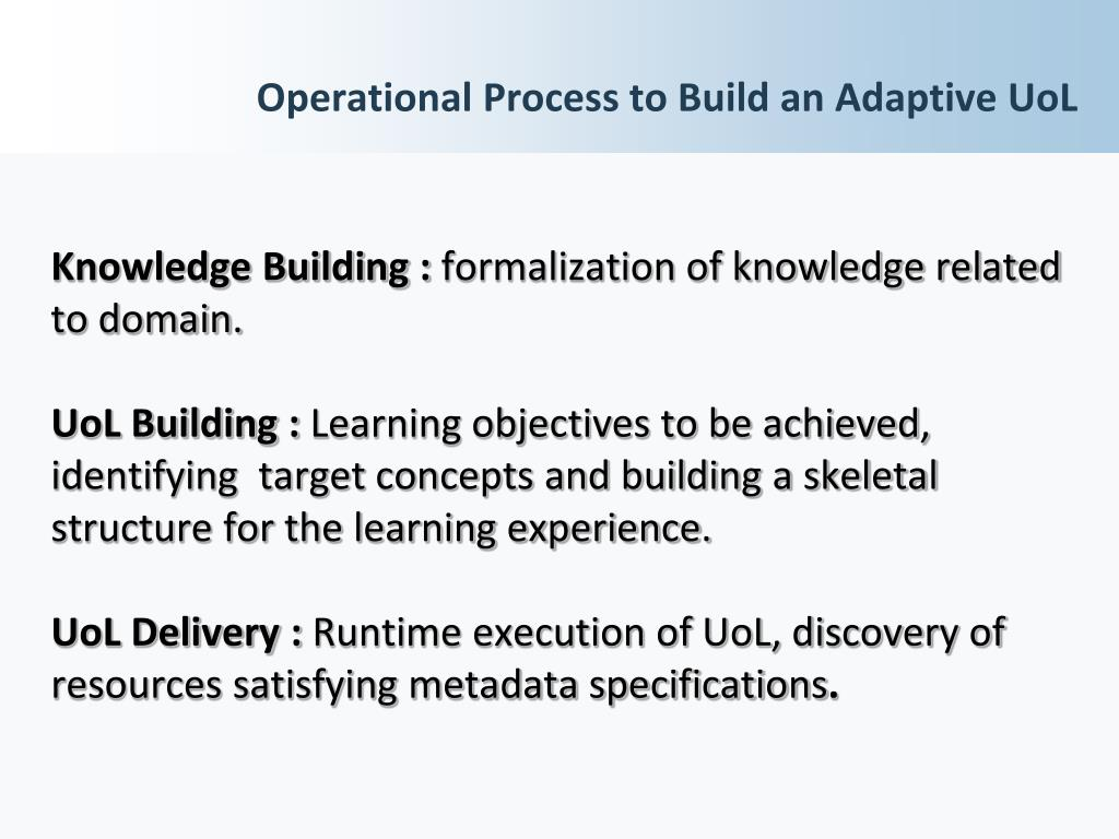 Operational Process to Build an Adaptive UoL