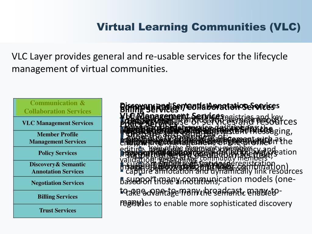 Virtual Learning Communities (VLC)