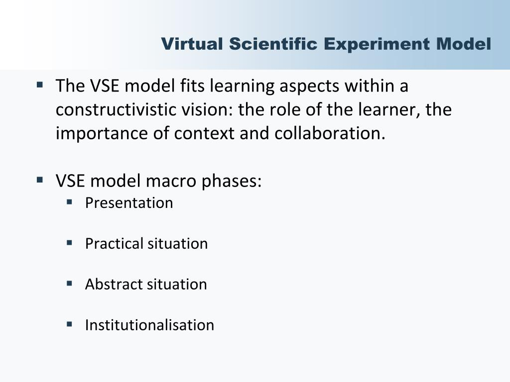 Virtual Scientific Experiment Model