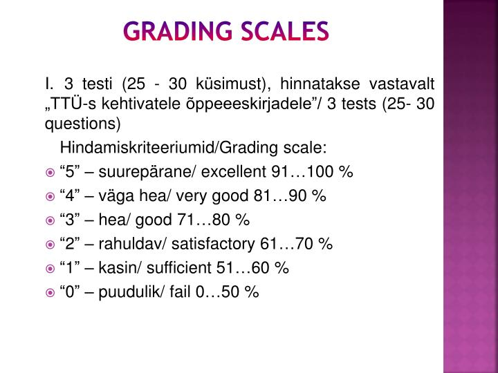 Grading scales