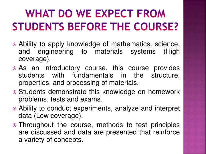 What do we expect from students before the course?