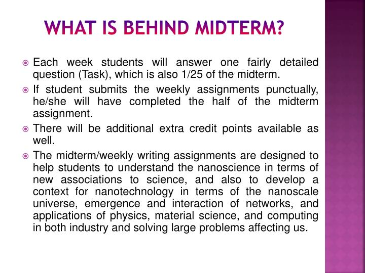 What is behind midterm?