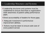 1 leadership structures and systems