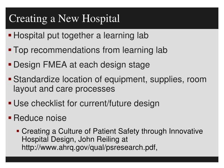 Creating a New Hospital