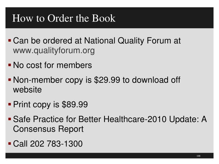 How to Order the Book