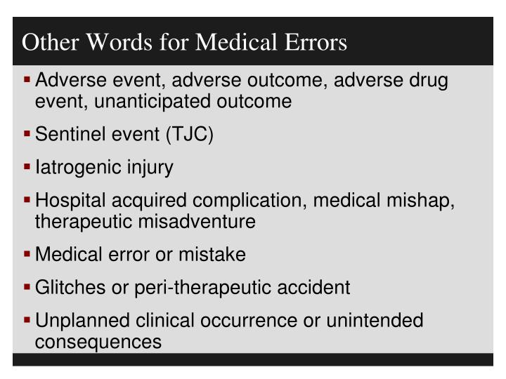 Other Words for Medical Errors
