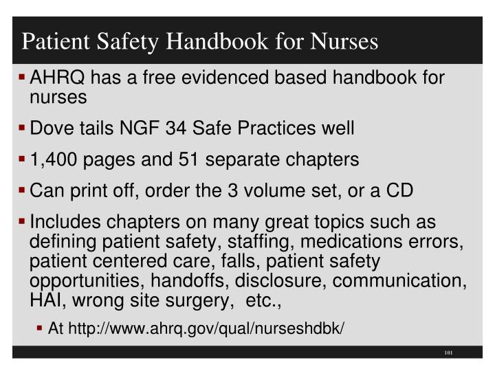 Patient Safety Handbook for Nurses