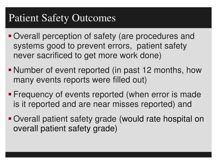 Patient Safety Outcomes