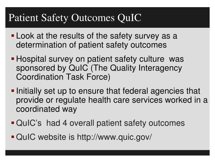 Patient Safety Outcomes QuIC